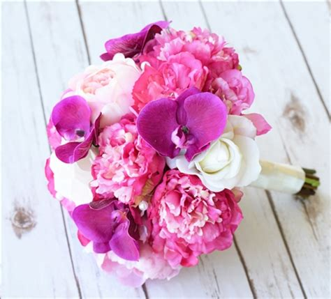 peonies and orchids fuchsia natural touch peonies and orchids bouquet