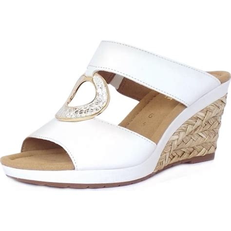 Sandal Wedges Wg45 White gabor sizzle s modern wide fit white leather wedge mule sandal