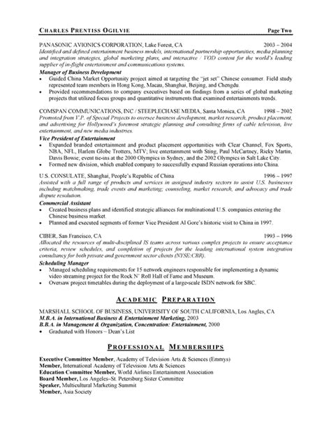entertainment executive resume exle