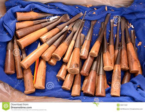 Handmade Wood Carving Tools - tool sculptures handmade stock photography image 36917222