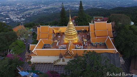 Pointsettia Wat Phra That Doi Suthep Thailand From Above