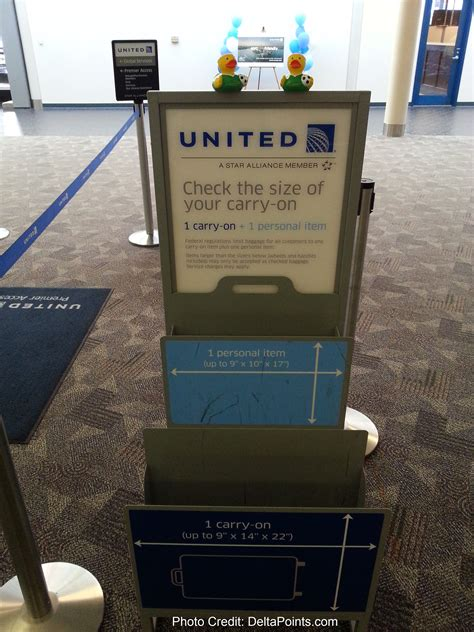 united checked baggage size the double carry on bag checker unit at united check in