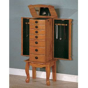 Jewelry Armoire Oak Finish by Jewelry Armoire Coaster Oak Finish Jewelry Armoire 900135