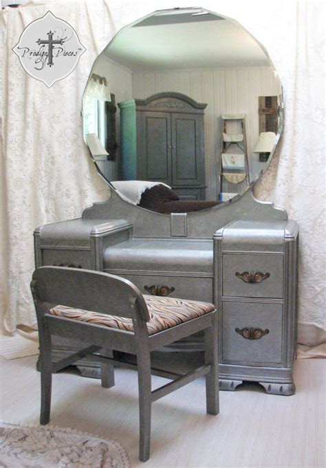 Retro Vanity Table Vintage Deco Waterfall Dressing Table Vanity With Bench
