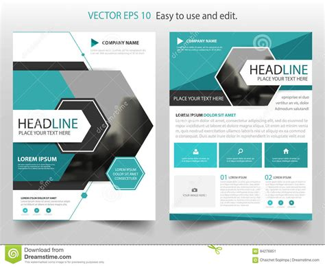 brochure and magazine layout design vector blue abstract hexagon annual report brochure design