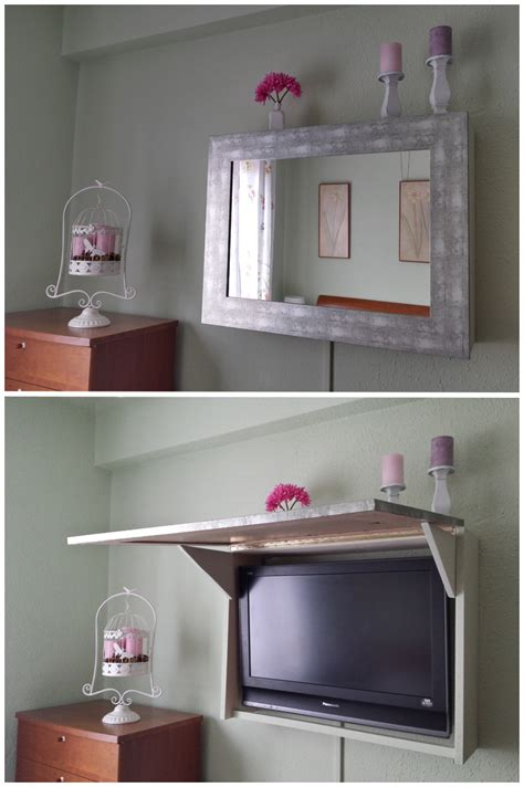 como hacer  mueble  espejo  ocultar la television