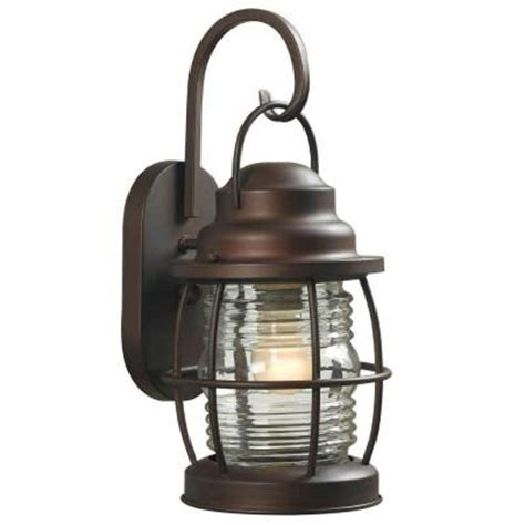 Patio Lights Home Depot Hton Bay Harbor 1 Light Copper Outdoor Small Wall Lantern Hdp11987 The Home Depot