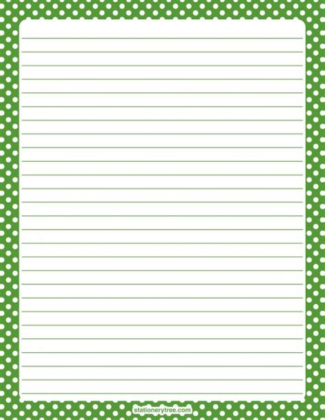free printable stationery paper without lines printable green and white polka dot stationery and writing