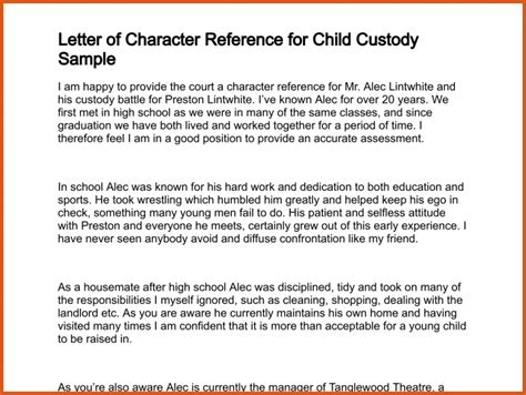 Character Letter Child Custody Sle Character Witness Letter Search Results For Character