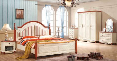 mediterranean bedroom furniture 1 bed 2 bedside dresser mirror mattress white packaging