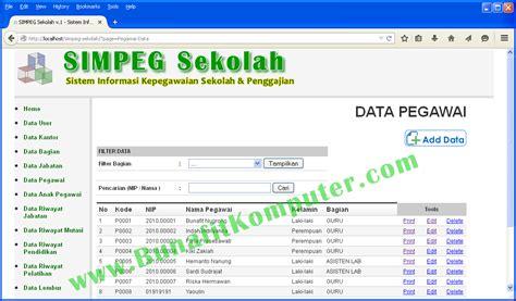 cara membuat sistem informasi berbasis web dengan php dan mysql contoh program sistem informasi pegawai bunafit komputer