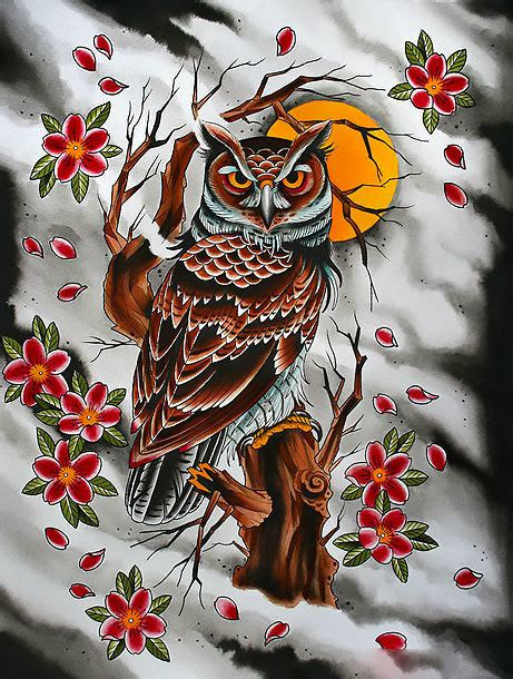 oriental owl tattoo japaneese owl tattoo design