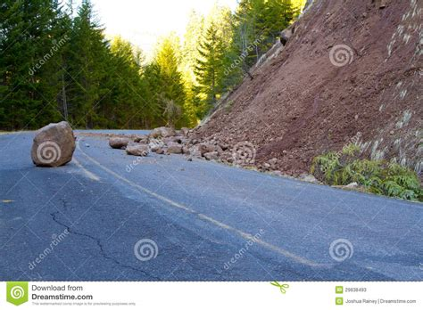 Road Debris A Major Hazard by Landslide Blocked Road Stock Photos Image 29838493