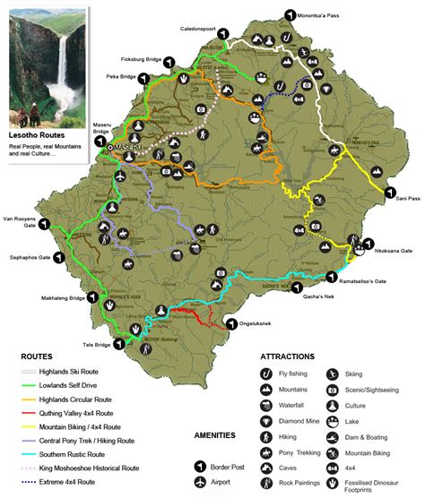 lesotho map lesotho tourism routes map mappery