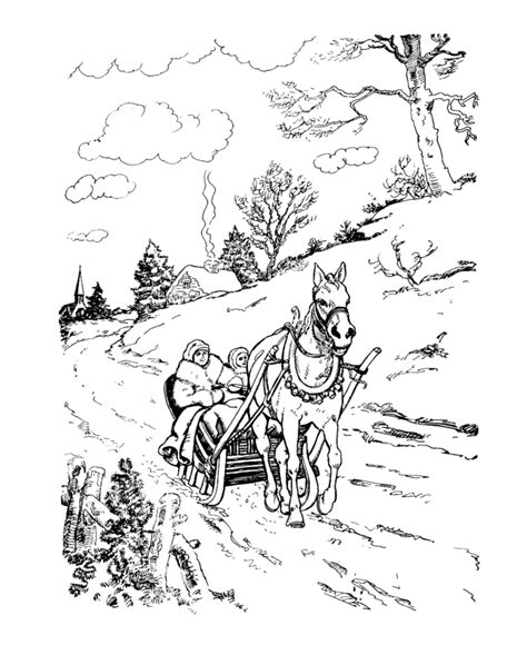 coloring page one open sleigh the classic coloring page one open