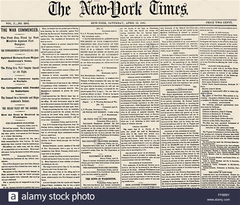 fort times newspaper civil war fort sumter nfront page of the new york