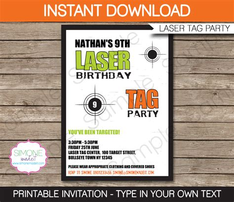 laser tag invitation template laser tag invitation template birthday green and