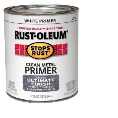 home depot primer rust oleum stops rust 1 qt flat white clean metal primer