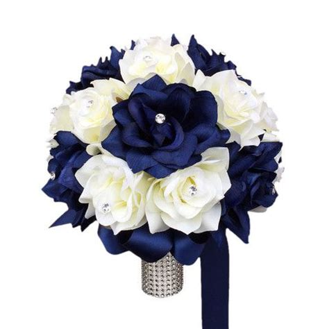 Wedding Bouquet Navy Blue by 10 Quot Bouquet Navy Blue And Ivory Roses Wedding Bouquet