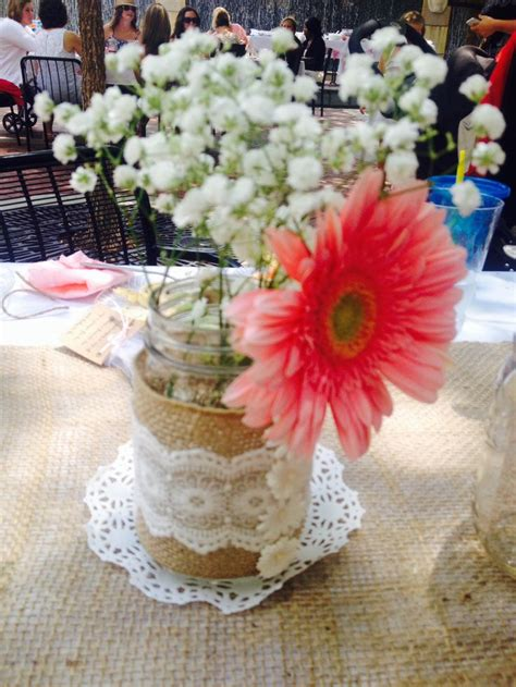 Country Vintage Baby Shower Table Centerpiece Burlap And Vintage Baby Shower Centerpieces