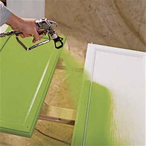 Alternate Application Spray The Paint On How To Paint How To Spray Paint Kitchen Cabinets