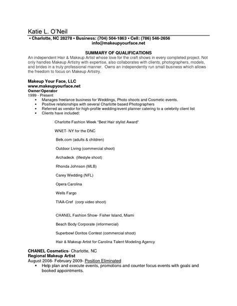 Career Resume Sle by Sle Resume Makeup Artist Makeup Vidalondon