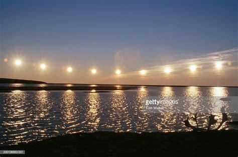Midnight Sun usa alaska midnight sun arctic coast stock photo