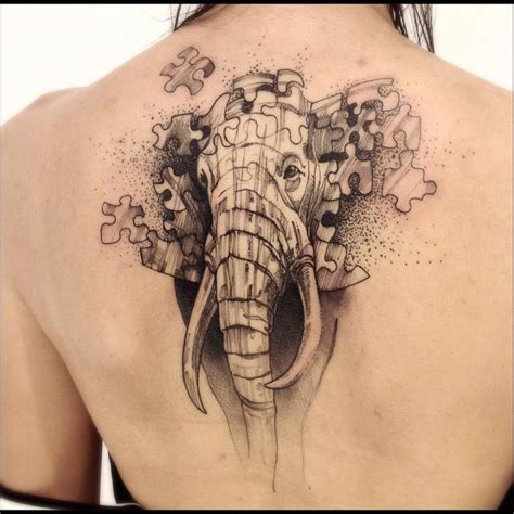 elephant tattoo upper back sketch work style elephant puzzle tattoo on the upper