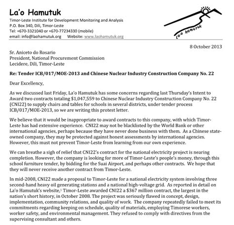 Sle Letter Protest Contract Award La O Hamutuk Lh Protests Contract Award To Cni22