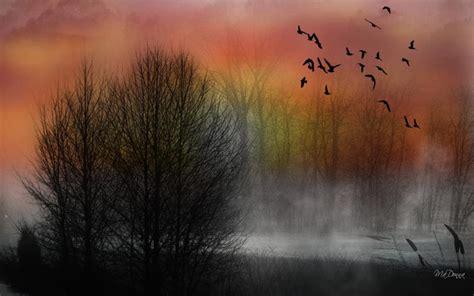 hd misty river sunset wallpaper