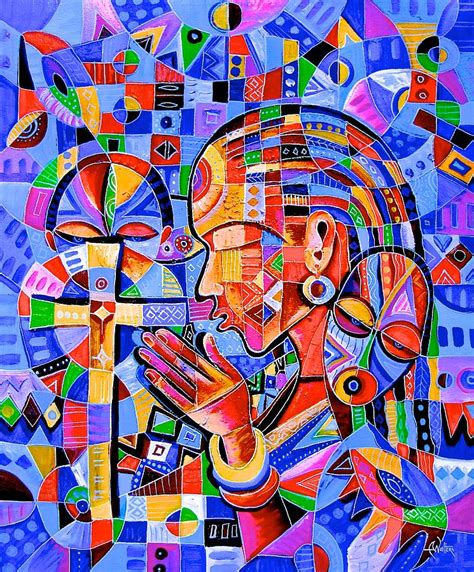 Duvet Cover Modern Prayer Painting By Angu Walters