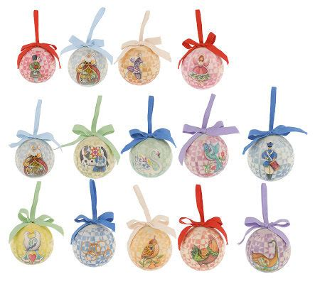 how to make 12 days of christmas ornaments jim shore 12 days of set of 14 hanging ornaments qvc