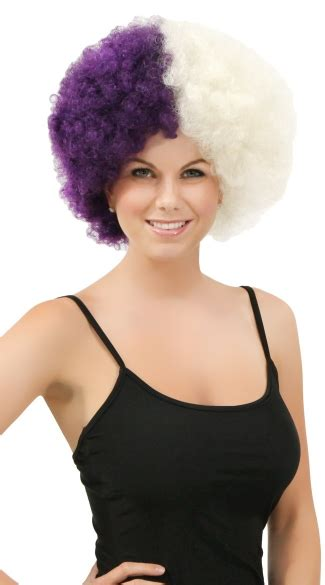 two tone short afro purple and white two tone afro wig combo color afro wig