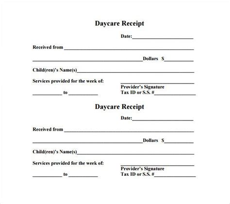 daycare receipt template word daycare receipt template 12 free word excel pdf