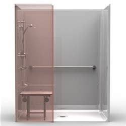 ada shower stall best bath systems video 5piece ada roll in shower w wing wall one piece 63x37 smooth