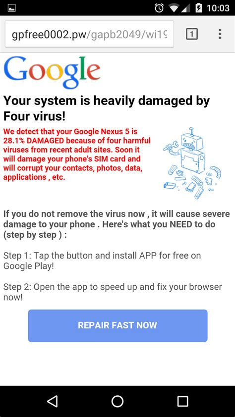 android virus warning virus warning on imgur pages android phones only