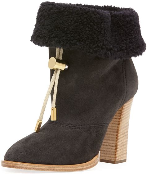 chlo 233 suede bolo tie fur cuff ankle boot charcoal