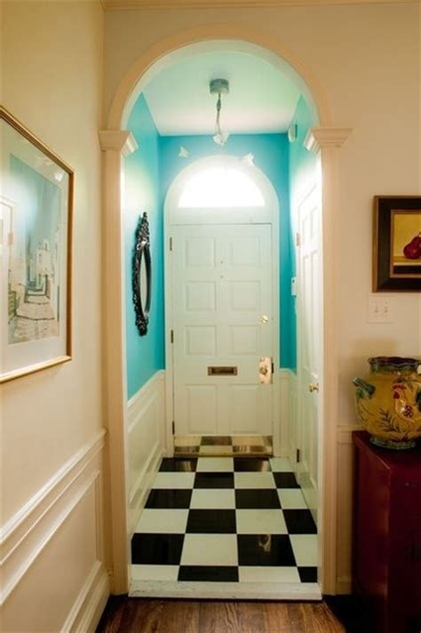 a paint color for a narrow entry is great to open up the space colors that pop