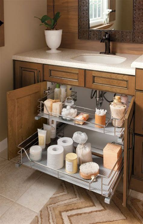 under bathroom transparent and metallic sink organizer