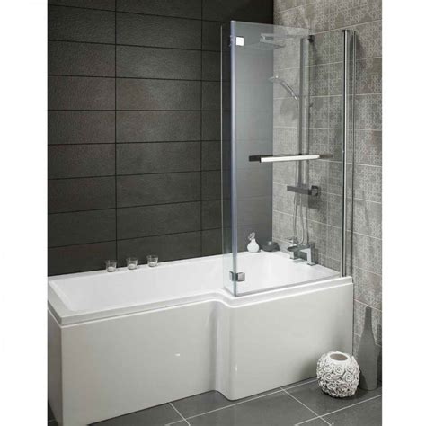 Bathroom Shower Bath Heavy Duty 1700mm L Shaped Shower Bath With Glass Screen Front Panel Heavy Duty L