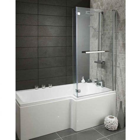 lily heavy duty mm  shaped shower bath  glass