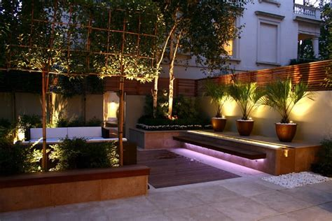 landscape lighting effects 40 ideas of how to design a garden with clean lines and subtle lighting effects