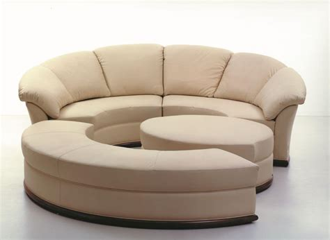 rounded couch round sofa covered in leather modular idfdesign