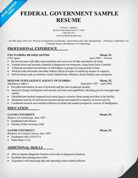 sample resumes federal resume or government resume