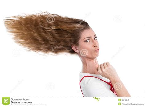 how to get windblown look chin length hair woman with hurry blown hair stock image image 35510241