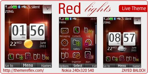 outlights live theme for nokia x2 00 c2 01 240 215 320 red lights theme for nokia x2 240 215 320 themereflex