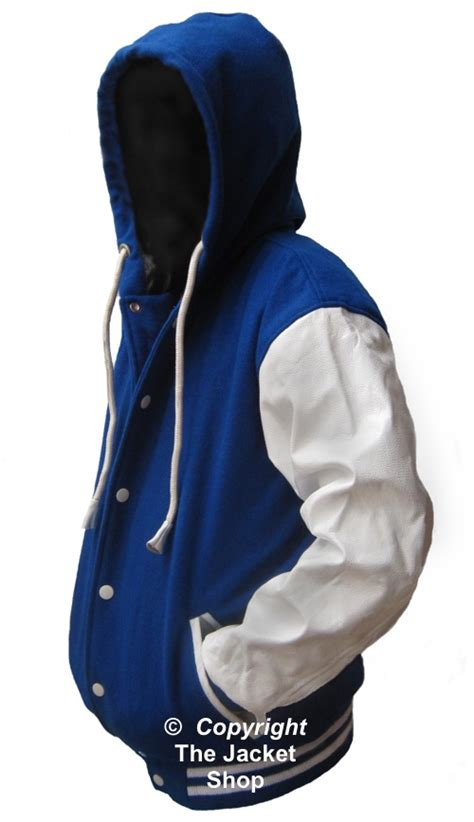 Hoodie Jacket White blue white letterman varsity hoody jacket leather sleeve 129 99 the jacket shop your