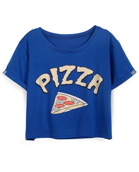 pizza pattern t shirt blue short sleeve pizza print crop t shirt shein sheinside