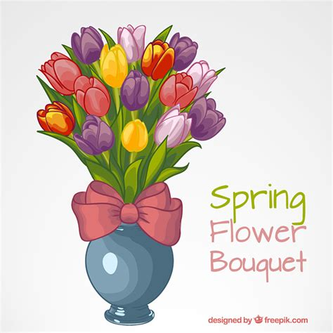 vase with colored tulips vector free
