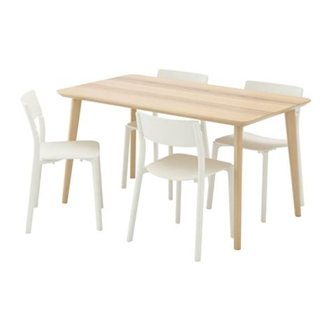 White Dining Room Table Sets Janinge Lisabo Table And 4 Chairs Ash Veneer White 140x78
